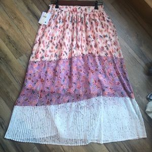NWT Anthropologie Floral Pleated Skirt